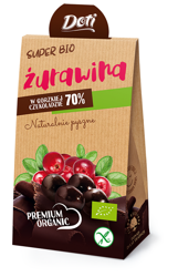 Żurawina w czekoladzie gorzkiej bezglutenowa BIO 50 g