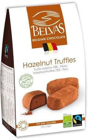 Belgijskie czekoladki trufle z orzechami laskowymi fair trade bezglutenowe BIO 100 g