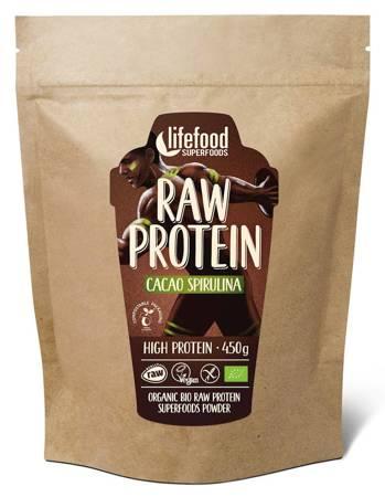 Białko roślinne z kakao i spiruliną raw bezglutenowe BIO 450 g