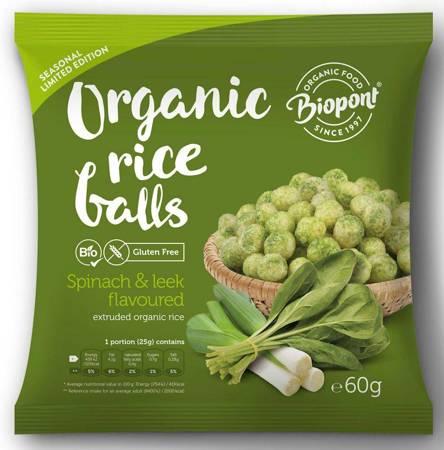 Chrupki ryżowe ze szpinakiem i porem bezglutenowe BIO 60 g