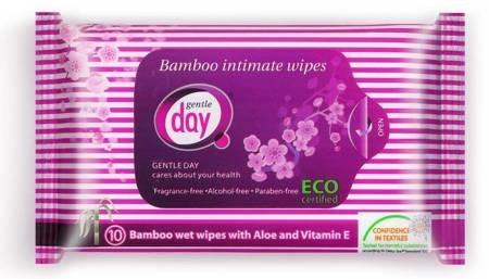 Chusteczki do higieny intymnej z włókna bambusowego (nawilżane) 10 szt.