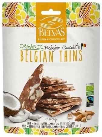 Kawałki czekolady mlecznej z migdałami i kokosem fair trade bezglutenowe BIO 120 g