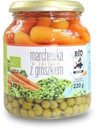 Marchewka w zalewie z groszkiem w słoiku BIO 340 g (220 g)